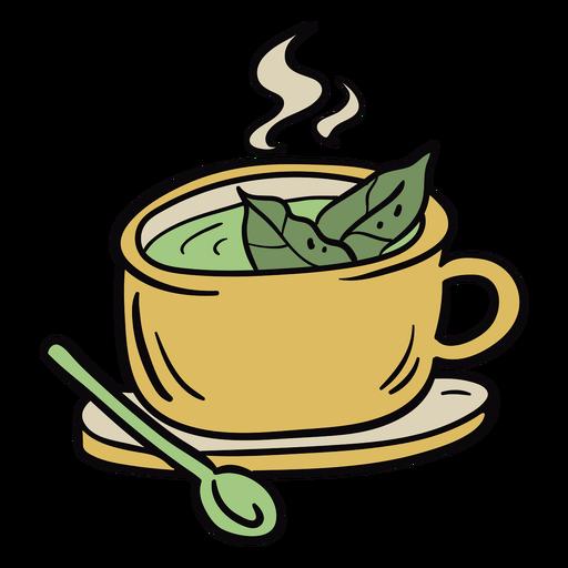 Coca tea leaves illustration