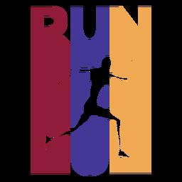 Colorful run runner badge