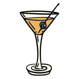 Dirty martini drink olive illustration