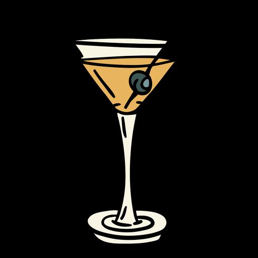 Ilustração de azeitona com bebida de martini sujo
