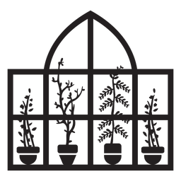 Plantas de janela retangular em cúpula