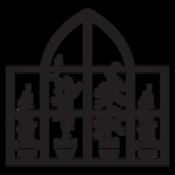 Plantas de ventana rectangular domo