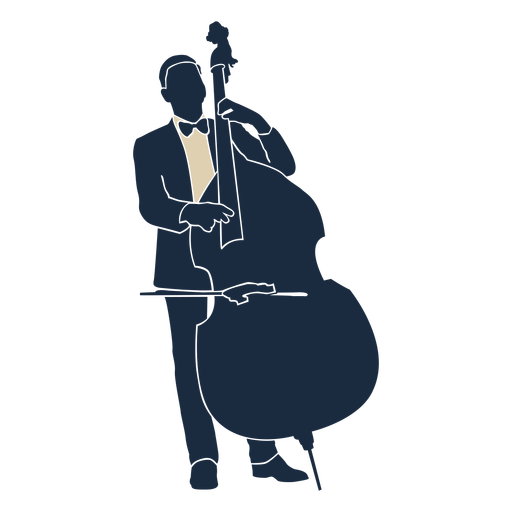 Double bass player duotone