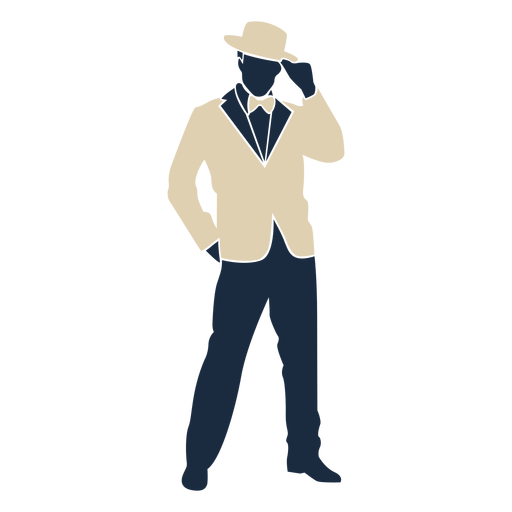 Sombrero de copa hombre traje a?os 20 Duotone