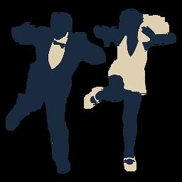 Pareja de baile de swing duotono