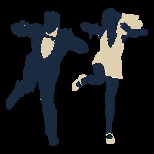 Duotone swing dancing couple