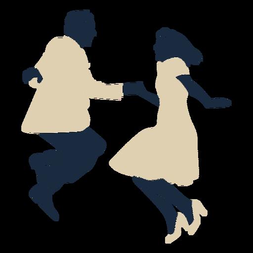 Duotone swing dancing couple jumping