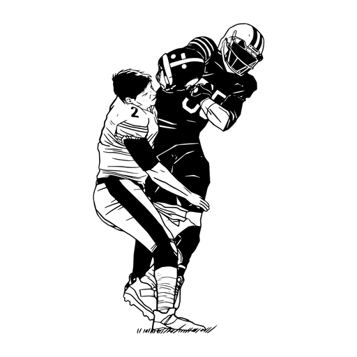 Football players tackle illustration Transparent PNG