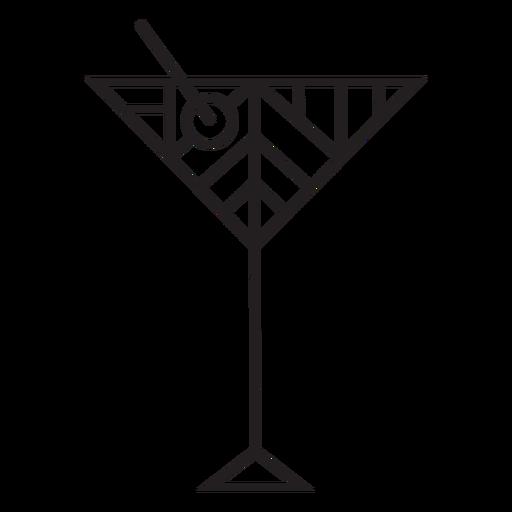 Traço geométrico de taça de martini sujo
