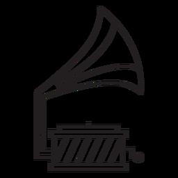 Trazo de tocadiscos de gramófono de línea geométrica