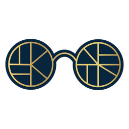 Geometric line round glasses gold
