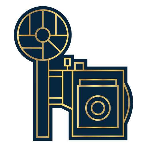Geometric line vintage camera gold