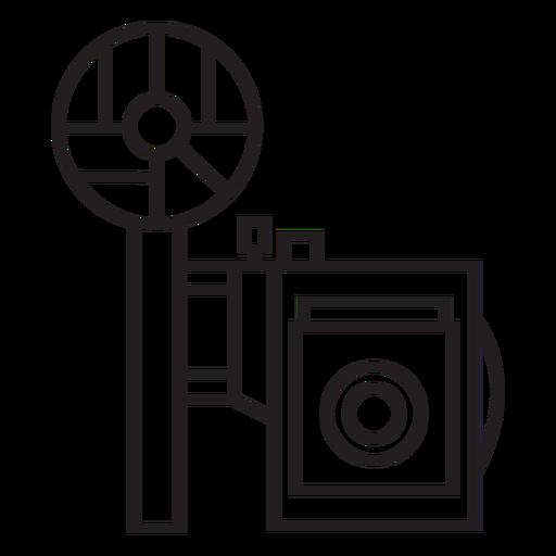Geometric line vintage camera stroke