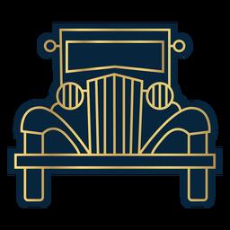 Línea geométrica coche de época vista frontal oro