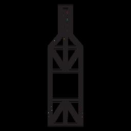 Geometric line wine bottle stroke