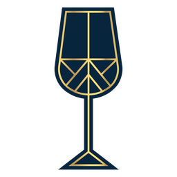 Geometric line wine glass gold