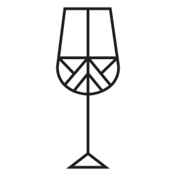 Geometric line wine glass stroke