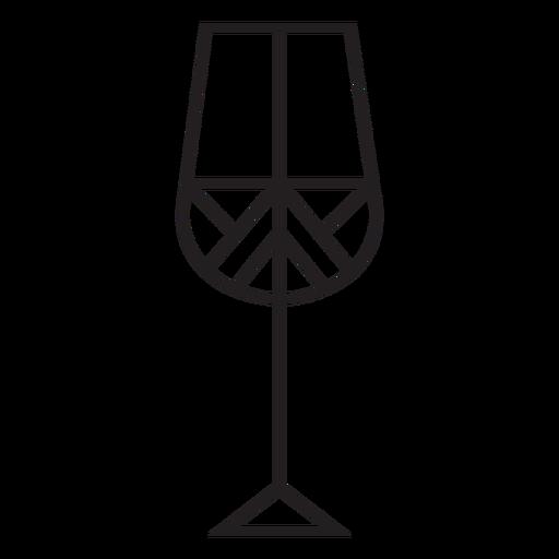 Geometric line wine glass stroke