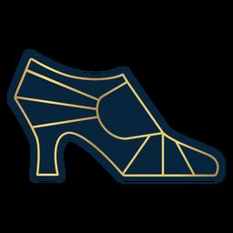 Perfil feminino geométrico de salto alto dourado