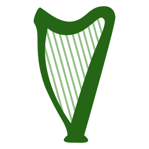 Harp instrument green flat Transparent PNG