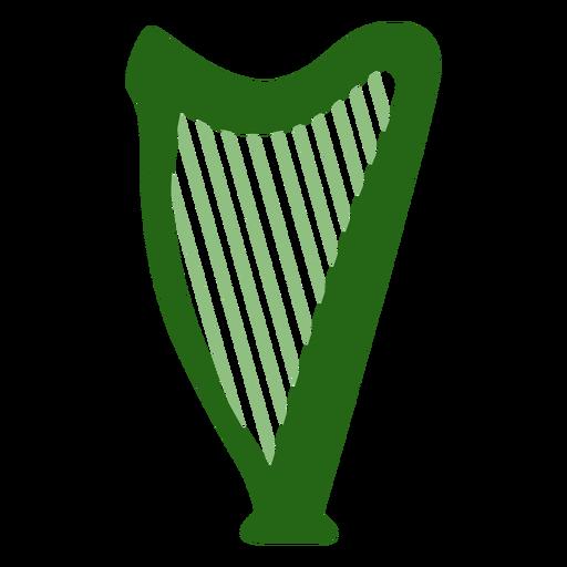 Instrumento arpa verde plano