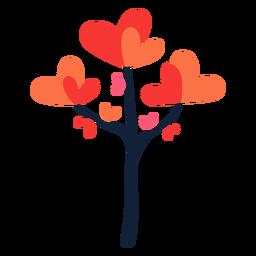 Heart leaves tree flat