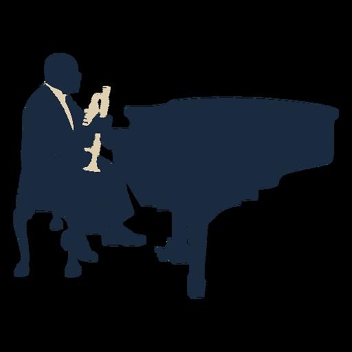 Jazz player pianist trumpet duotone