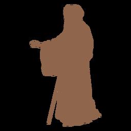 Silueta de perfil de bastón de hombre