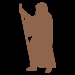 Silueta de bastón de perfil de hombre