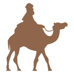 Homem andando de camelo na silhueta