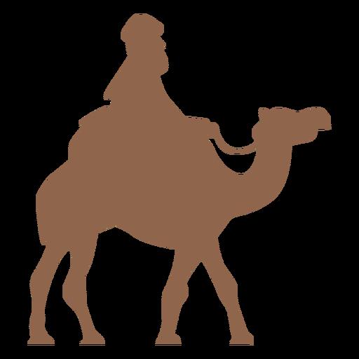 Hombre equitación camello lado silueta