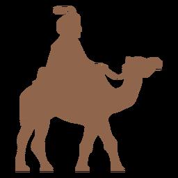 Homem cavalgando silhueta de camelo