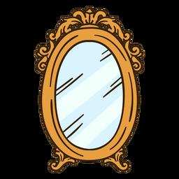 Ilustración de espejo de pared redondo adornado