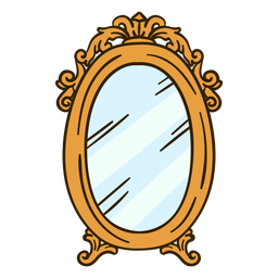 Ornate round wall mirror illustration