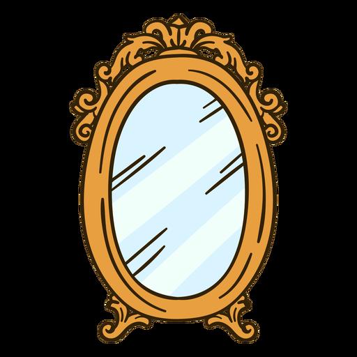 Ornate round wall mirror illustration