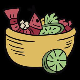 Peruvian ceviche bowl illustration