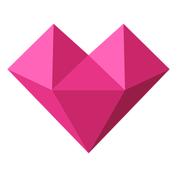 Ilustração geométrica em mosaico de coração rosa