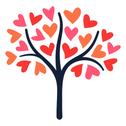 Plano de árbol de corazón rosa