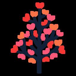 Árvore de coração rosa com folhas planas