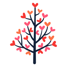 Pink heart tree leaves flat