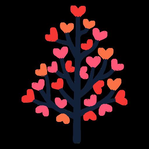 Pink heart tree leaves flat