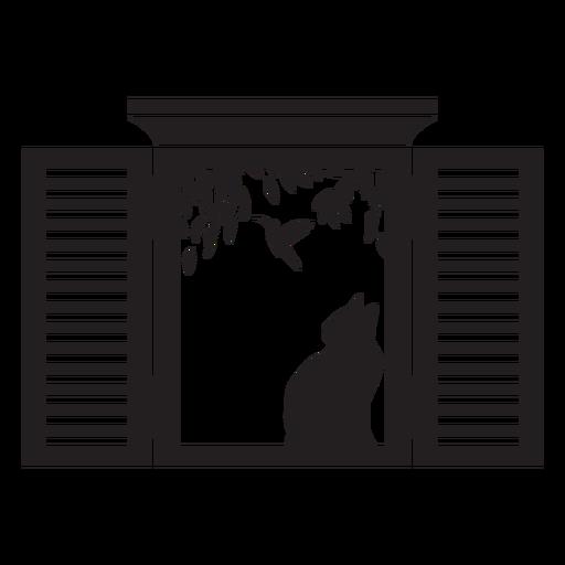 Rectangular open window cat bird scene