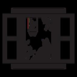 Escena de planta de gato de ventana abierta rectangular