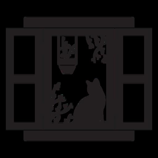 Cena de planta de gato em janela retangular aberta Transparent PNG