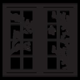 Cena de galho de pássaro em janela retangular