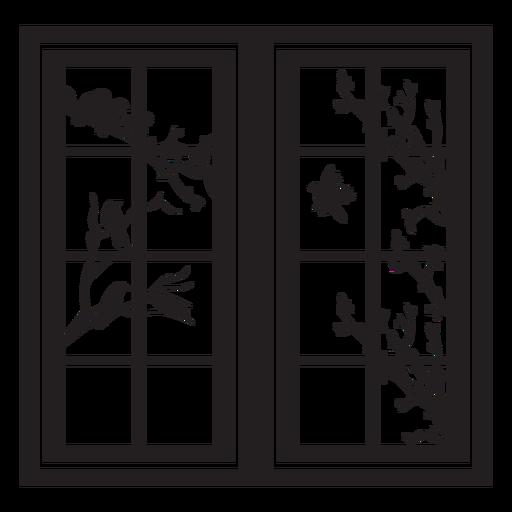 Rectangular window bird branch scene