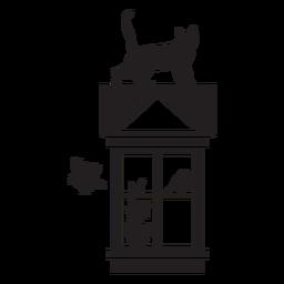 Ventana rectangular gato pájaro escena
