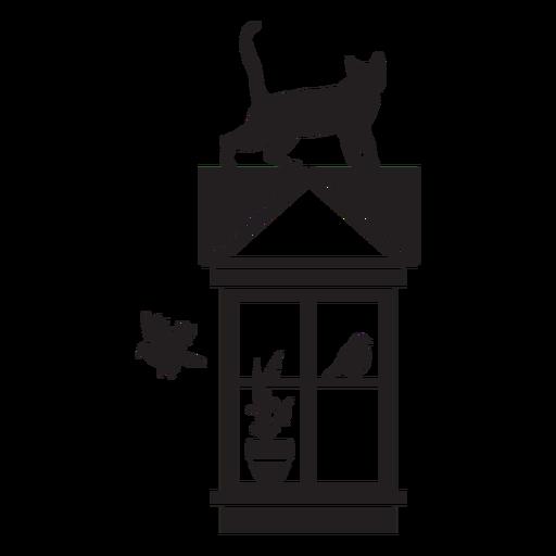 Rectangular window cat bird scene