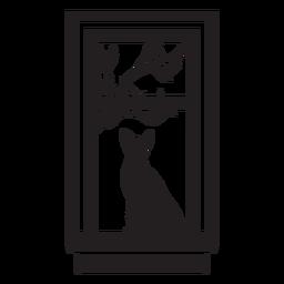 Cena de gato em janela retangular