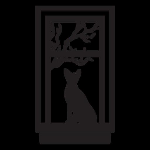 Rectangular window cat scene
